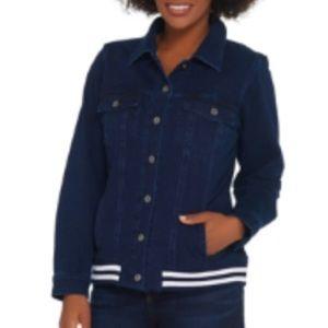 Denim&co comfy knit jean jacket with rib trim S